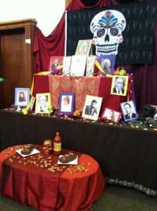 The Day of the Dead altar in the library today.