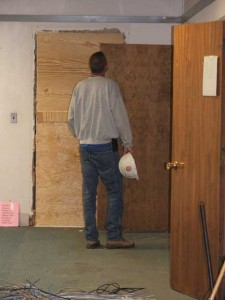The old door from the periodicals room into the ILL office was boarded up.