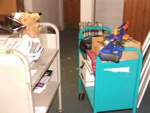 The important things, like assault water guns, were moved via book truck to other parts of the building.